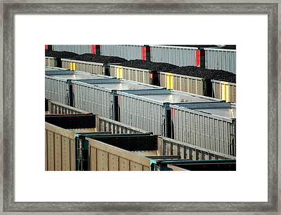 Freight Yard In Marysville Kansas.  Framed Print