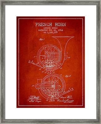 French Horn Patent From 1914 - Red Framed Print