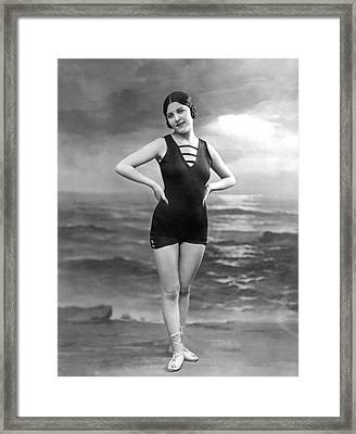 French Woman In A Bathing Suit Framed Print