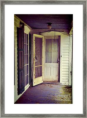 Front Door Of Abandoned House Framed Print by Jill Battaglia