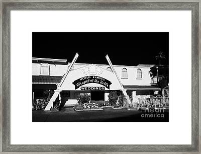 fun city motel and chapel of the bells wedding chapel on the strip Las Vegas Nevada USA Framed Print by Joe Fox