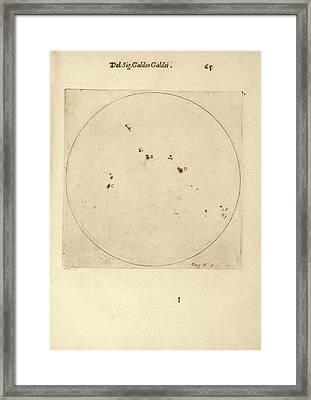 Galileo's Observation Of Sunspots Framed Print