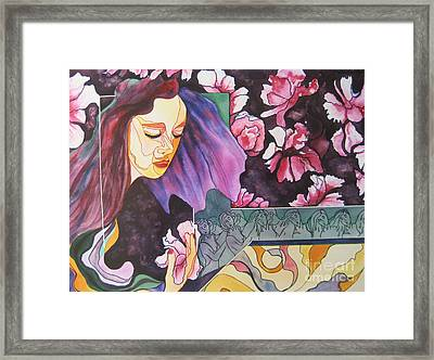 Framed Print featuring the painting Garden Secrets by Diana Bursztein