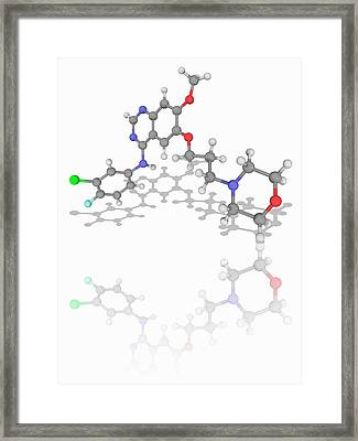 Gefitinib Drug Molecule Framed Print by Laguna Design/science Photo Library