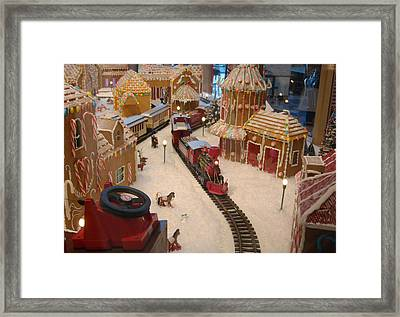 Gingerbread House Miniature Train Framed Print