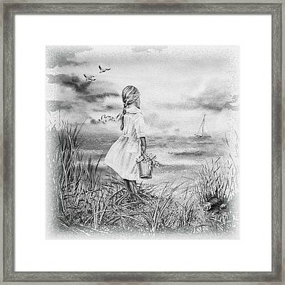 Girl And The Ocean Framed Print