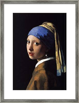 Girl With A Pearl Earring Framed Print by Gift Factory
