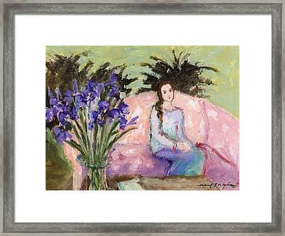 Girl With Iris Framed Print
