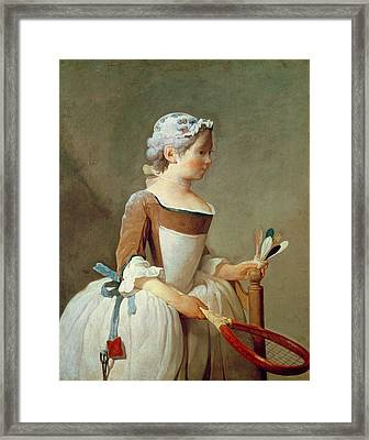 Girl With Racket And Shuttlecock Framed Print by Jean-Baptiste Simeon Chardin