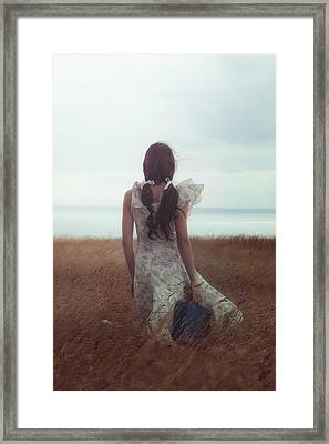 Girl With Suitcase Framed Print by Joana Kruse