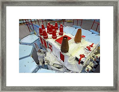 Glonass Satellite Assembly Framed Print by Science Photo Library