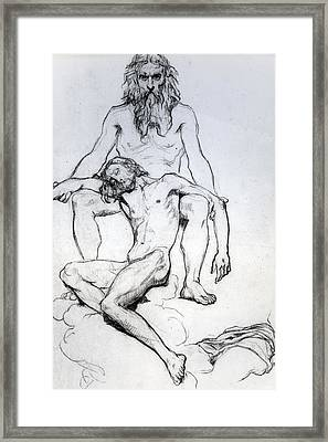 God The Father And God The Son Framed Print by Henri Lehmann