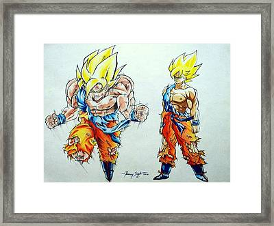 Goku In Action Framed Print by Tanmay Singh