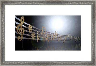 Gold Music Notes On Wavy Lines Framed Print by Allan Swart