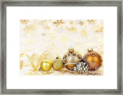 Golden Christmas Ornaments  Framed Print by Elena Elisseeva