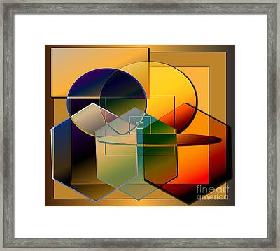 Framed Print featuring the digital art Golden Circles by Iris Gelbart