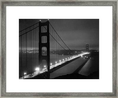 Golden Gate Bridge At Night Framed Print by Underwood Archives