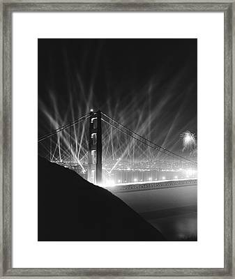 Golden Gate Bridge Opening Framed Print by Underwood Archives