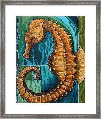 Golden Seahorse Framed Print by Kate Fortin