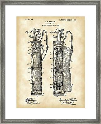 Golf Bag Patent 1905 - Vintage Framed Print by Stephen Younts