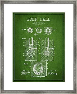 Golf Ball Patent Drawing From 1902 Framed Print by Aged Pixel