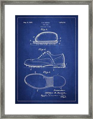 Golf Shoe Patent Drawing From 1931 Framed Print by Aged Pixel