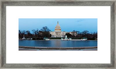 Government Building At Dusk, Capitol Framed Print