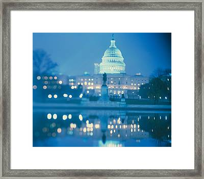 Government Building Lit Up At Night Framed Print by Panoramic Images