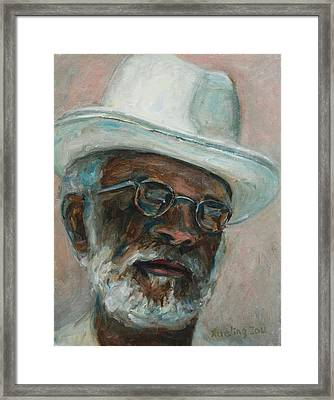 Gray Beard Under White Hat Framed Print