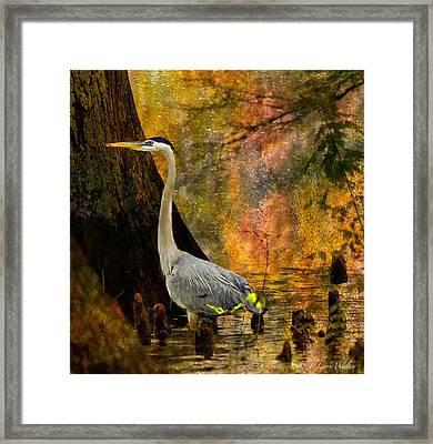 Framed Print featuring the digital art Great Blue Heron Slowly Fishing by J Larry Walker
