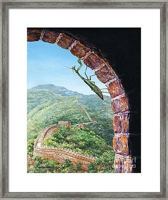 Great Wall Mantis Framed Print by Lynette Cook