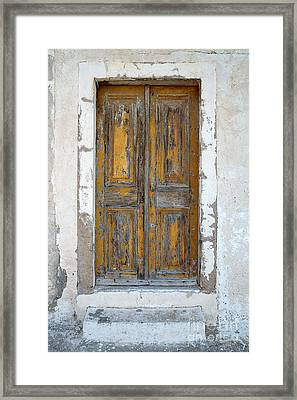 Greek Door Framed Print by Neil Overy