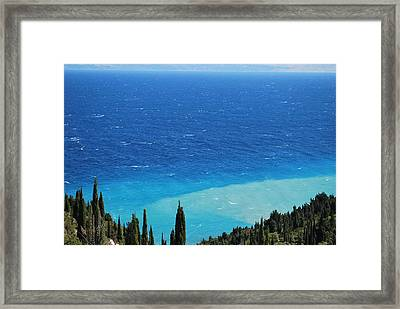 green and blue Erikousa Framed Print by George Katechis