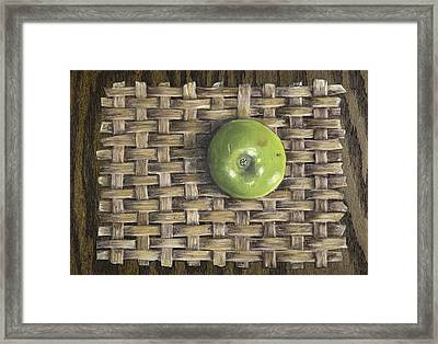 Framed Print featuring the painting Green Apple On Basket by Claude Schneider