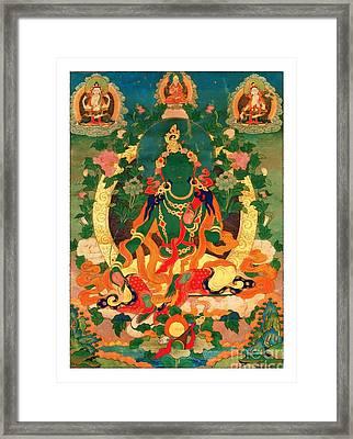 Green Tara 9 Framed Print by Lanjee Chee