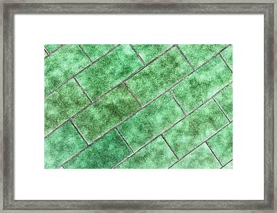 Green Tiles Framed Print