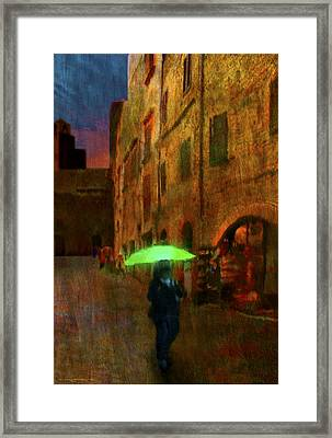 Green Umbrella Framed Print by Patrick J Osborne