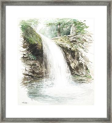 Framed Print featuring the painting Grotto Falls by Bob  George