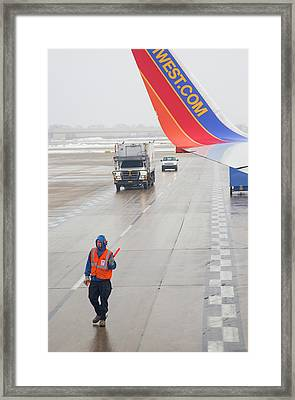 Ground Crew Worker At Chicago Airport Framed Print
