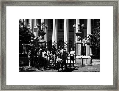 guided tour group outside the former national congress building Santiago Chile Framed Print by Joe Fox