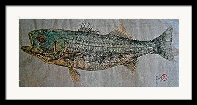Striped Marlin Mixed Media Framed Prints