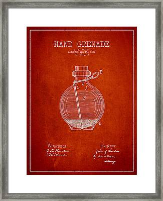 Hand Grenade Patent Drawing From 1884 Framed Print