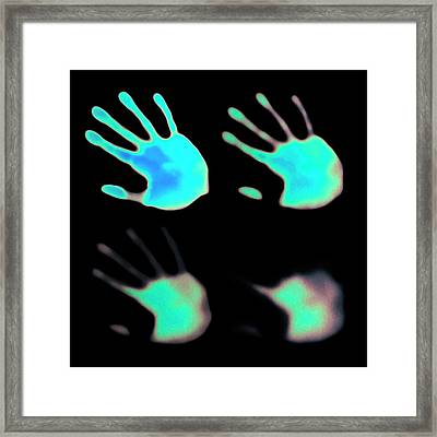 Hand Prints On Thermochromic Paper Framed Print
