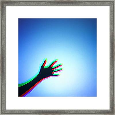 Hand With Colour Mixing Framed Print