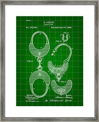 Handcuffs Patent 1880 - Green Framed Print