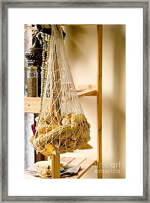 Hanged Dry Organic Corns In A Net Framed Print by Leyla Ismet