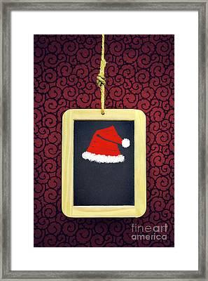 Hanged Xmas Slate - Santa's Cap Framed Print