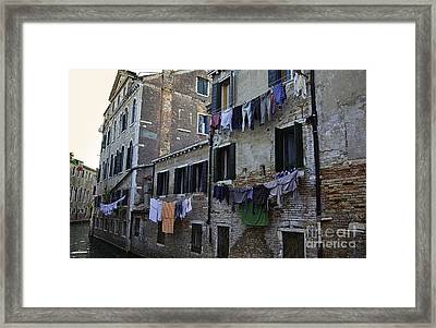 Hanging Out To Dry In Venice Framed Print