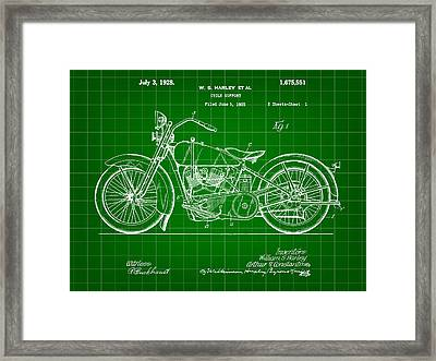 Harley Davidson Motorcycle Patent 1925 - Green Framed Print by Stephen Younts