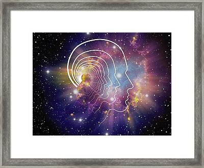 Head Contour Lines Framed Print by Alfred Pasieka